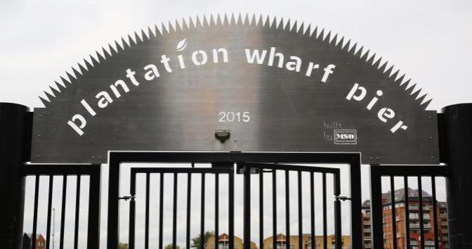 Plantation Wharf Pier, built by MSO Marine London boatyard